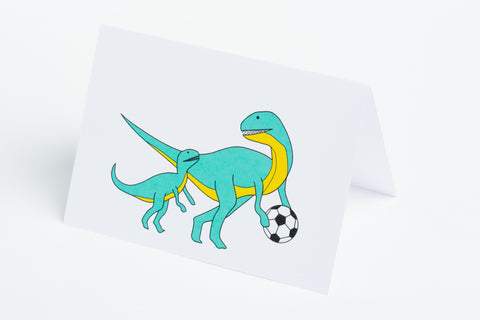 Soccer Player Dinosaur Note Card