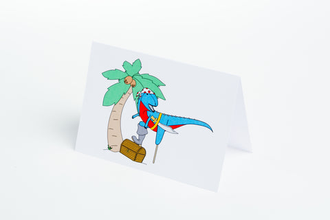 Pirate Dinosaur Note Card
