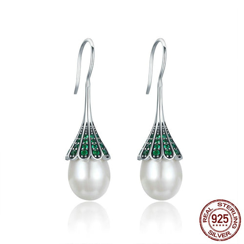 High Quality 925 Sterling Silver Fresh Water Pearl & Green CZ Drop Earrings