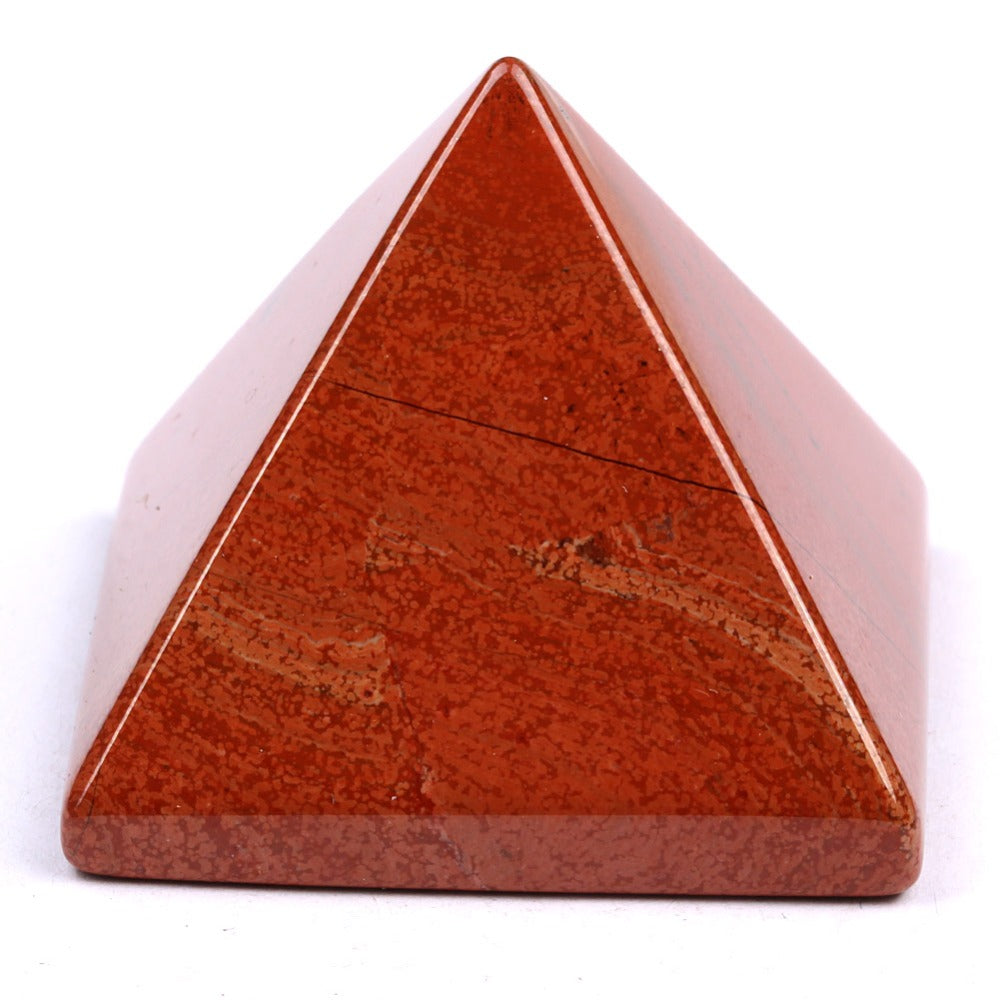 Natural Tumbled Red Jasper Stone Carved Pyramidal Crystal Healing