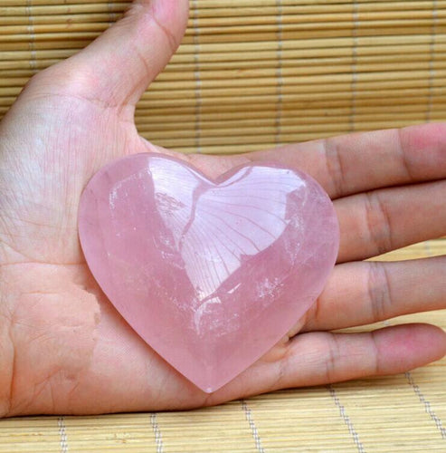 Natural Rose Quartz Crystal Love Heart Crystal
