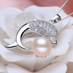 925 silver Lovely Dolphin skull necklace with fresh water Pearl Pendant
