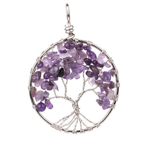 Amethyst Natural Crystal Tree of Life Pendant