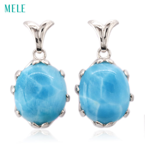 Natural larimar sterling silver earring,