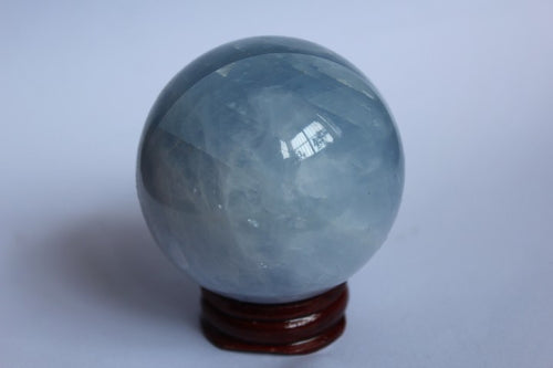 Natural Calcite Blue Quartz Crystal Sphere Ball + stand
