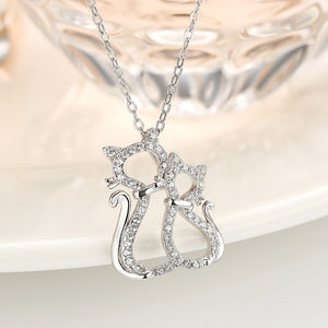 Sterling Silver Chain Necklaces Unique Two Cats Pendants With Sparking Cubic Zircon
