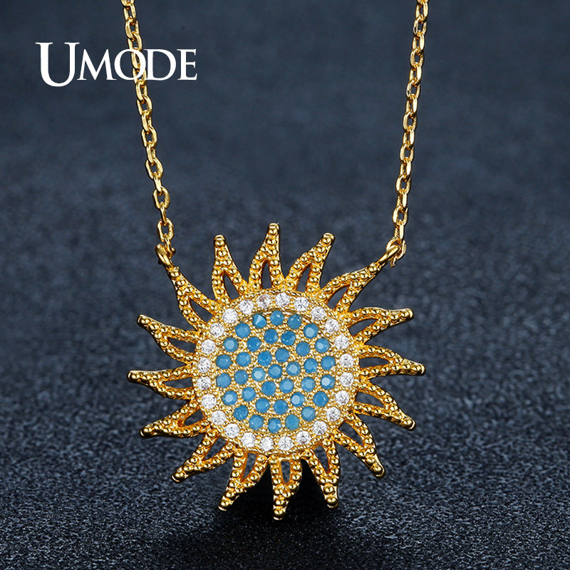 Blue Crystal Sun Pendant Necklaces for Women