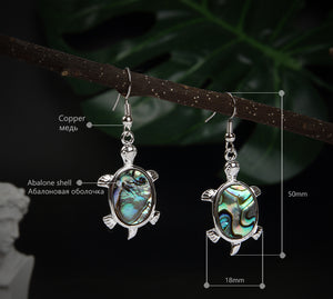 Natural Abalone Shell Sea Turtle Tortoise Womens Dangle Earrings