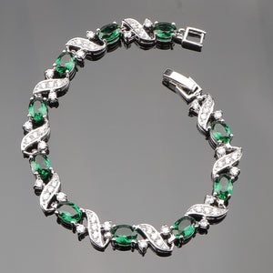 Green Cubic Zircon 925 Sterling Silver Charms Bracelets For Women