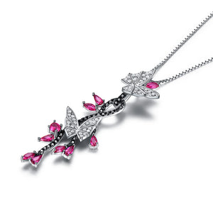 925 Sterling Silver Butterfly Black Spinel Ruby Necklaces