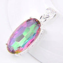 Oval Dazzling Rainbow Mystic Topaz Crystal on a Sterling Silver Pendant