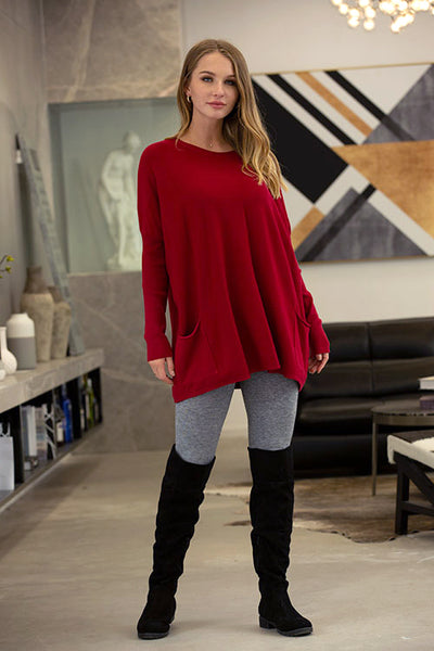 Orange by Fashion Village, Fall 2020, 63621 Crew Neck Sweater with Pockets