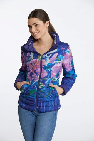 "Claire Desjardins 90299 ""Hibiscus At Night"" Zip Collar Reversible Jacket"