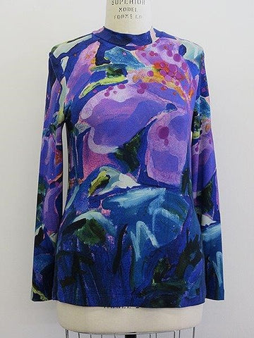 "Claire Desjardins, Fall 2020 90304 ""Hibiscus At Night"" Crew Neck Top, Long Sleeve"