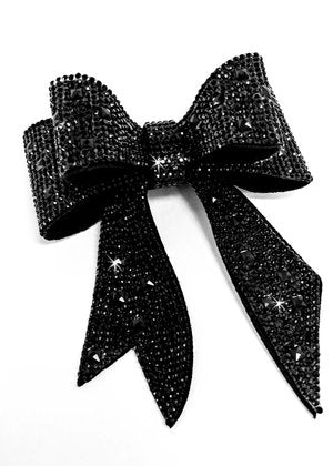 Jacqueline Kent JKBW100.BK Sugar Cane Collection Bow Crystal Black
