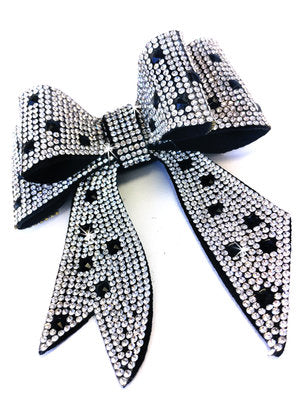 Jacqueline Kent JKBW100.SIBK Sugar Cane Collection Bow Crystal Silver/Black