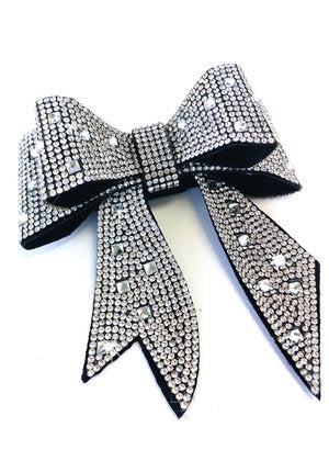 Jacqueline Kent JKBW100.SI Sugar Cane Collection Bow Crystal Silver
