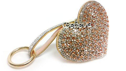 "KKC110.RG Jacqueline Kent Heart Purse Charms ""Keychain Ice Crystal Heart Charm"""