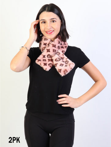 Accessories, Fall 2020 SF 17322 Faux Fur Scarf with Symbols
