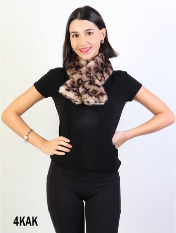 Accessories, Fall 2020 SF 17324 Faux Fur Scarf with Symbols
