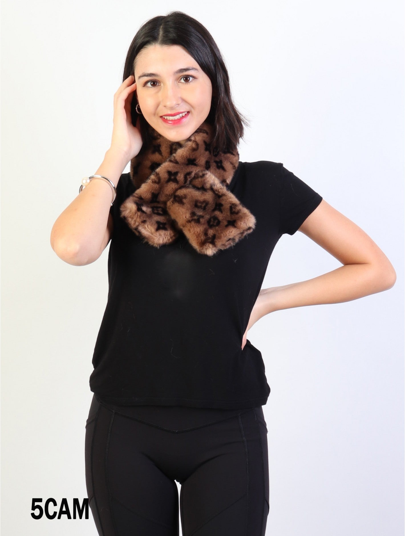 Accessories, Fall 2020 SF 17325 Faux Fur Scarf with Symbols