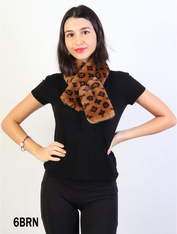 Accessories, Fall 2020 SF 17326 Faux Fur Scarf with Symbols