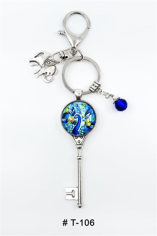 T-106 Keychain Lucky Charm Peacock Marie France Carriere