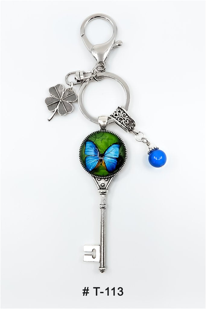 Marie France Carriere T-113 Keychain Lucky Charm Blue Butterfly