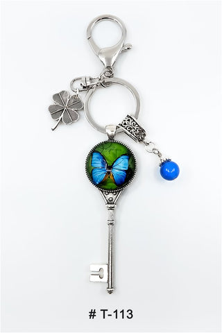 T-113 Keychain Lucky Charm Blue Butterfly Marie France Carriere