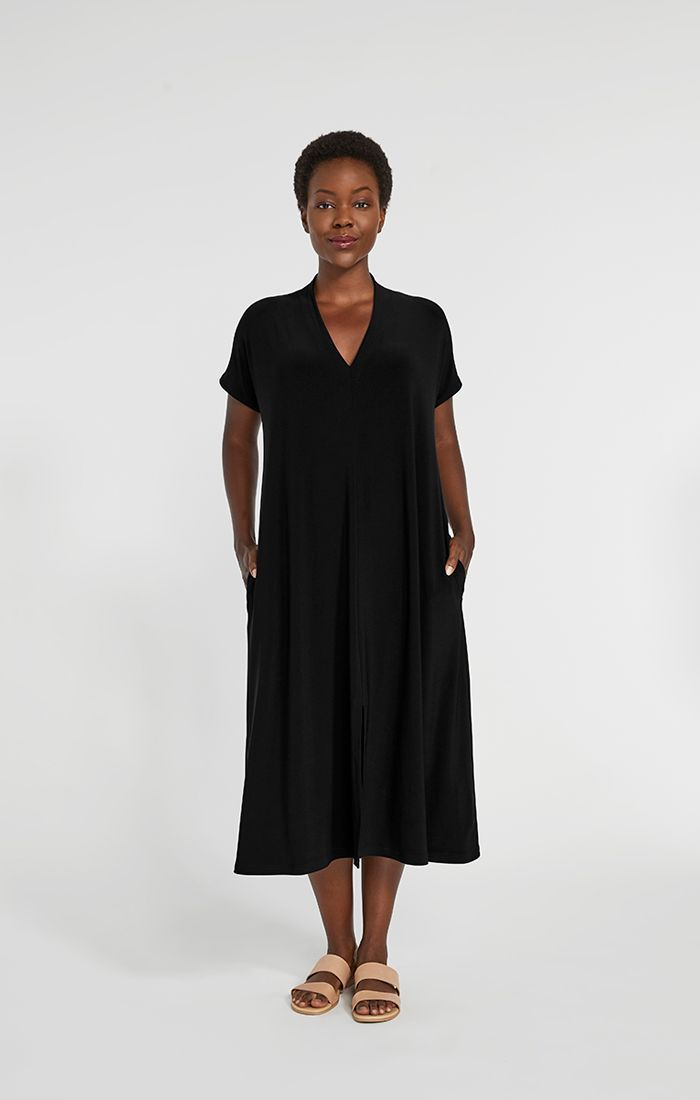 Gilmour, Fall 2020 BD-3013 Bamboo 3/4 Sleeve Shirttail Maxi Dress