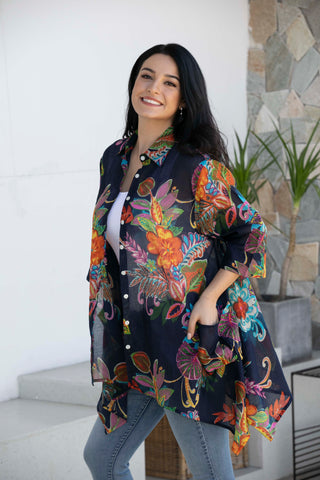 Orange by Fashion Village CR-92 Floral Cotton Tunic