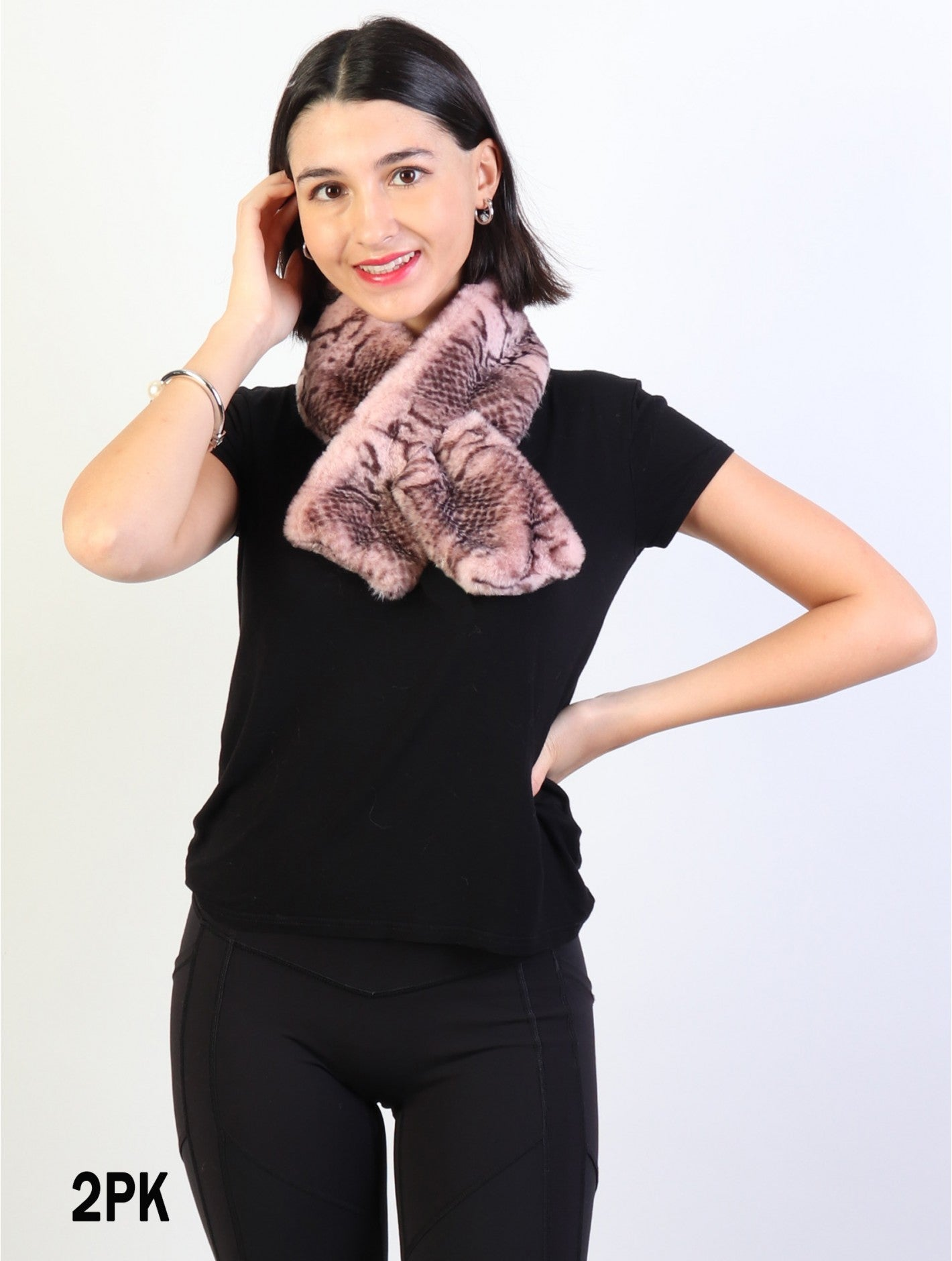 Accessories, Fall 2020 SF 17333 Faux Fur Scarf with Snakeskin Print