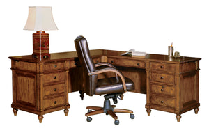 Hekman Office Executive L-Shaped Desk in Urban Ash Burl 79107 - Curios And More