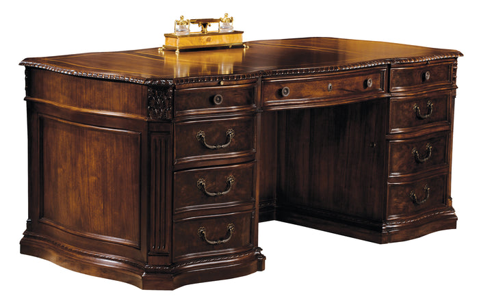 Hekman Office Executive Desk in Old World Walnut 79160 - Curios And More