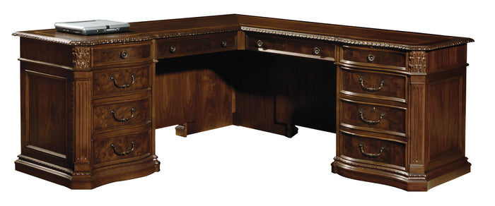 Hekman Office Executive L-Shaped Desk in Old World Walnut 79167 - Curios And More