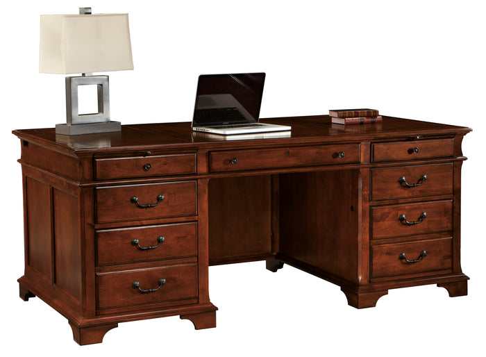 Hekman Office Executive Desk in Weathered Cherry 79270 - Curios And More