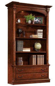 Hekman Office Executive Center Bookcase in Weathered Cherry 79274 - Curios And More
