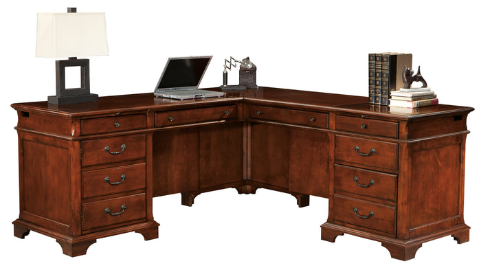 Hekman Office Executive L-Shaped Desk in Weathered Cherry 79277 - Curios And More