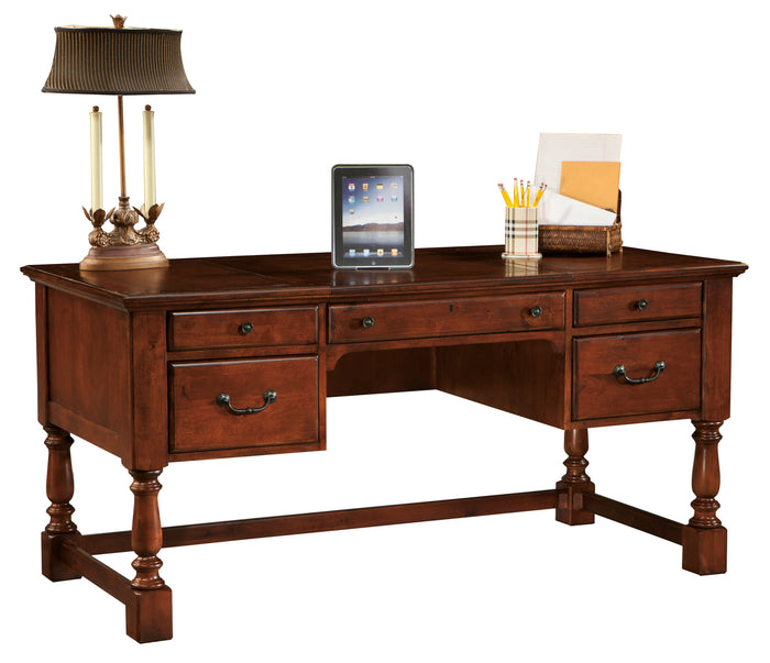 Hekman Office Executive Table Desk in Weathered Cherry 79278 - Curios And More