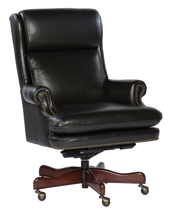 Hekman Black Leather Executive Office Chair 7-9252B - Curios And More