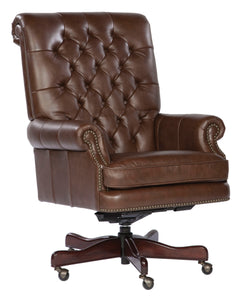 Hekman Tufted Coffee Leather Executive Office Chair 7-9253C - Curios And More