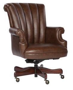 Hekman Ribbed Coffee Leather Executive Office Chair 7-9251C - Curios And More