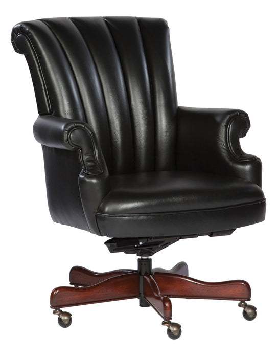 Hekman Ribbed Black Leather Executive Office Chair 7-9251B - Curios And More