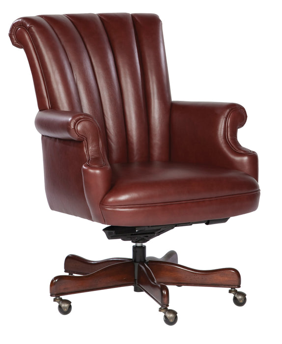 Hekman Ribbed Merlot Leather Executive Office 7-9251M - Curios And More