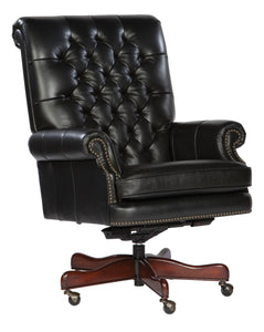 Hekman Tufted Black Leather Executive Office Chair 7-9253B - Curios And More