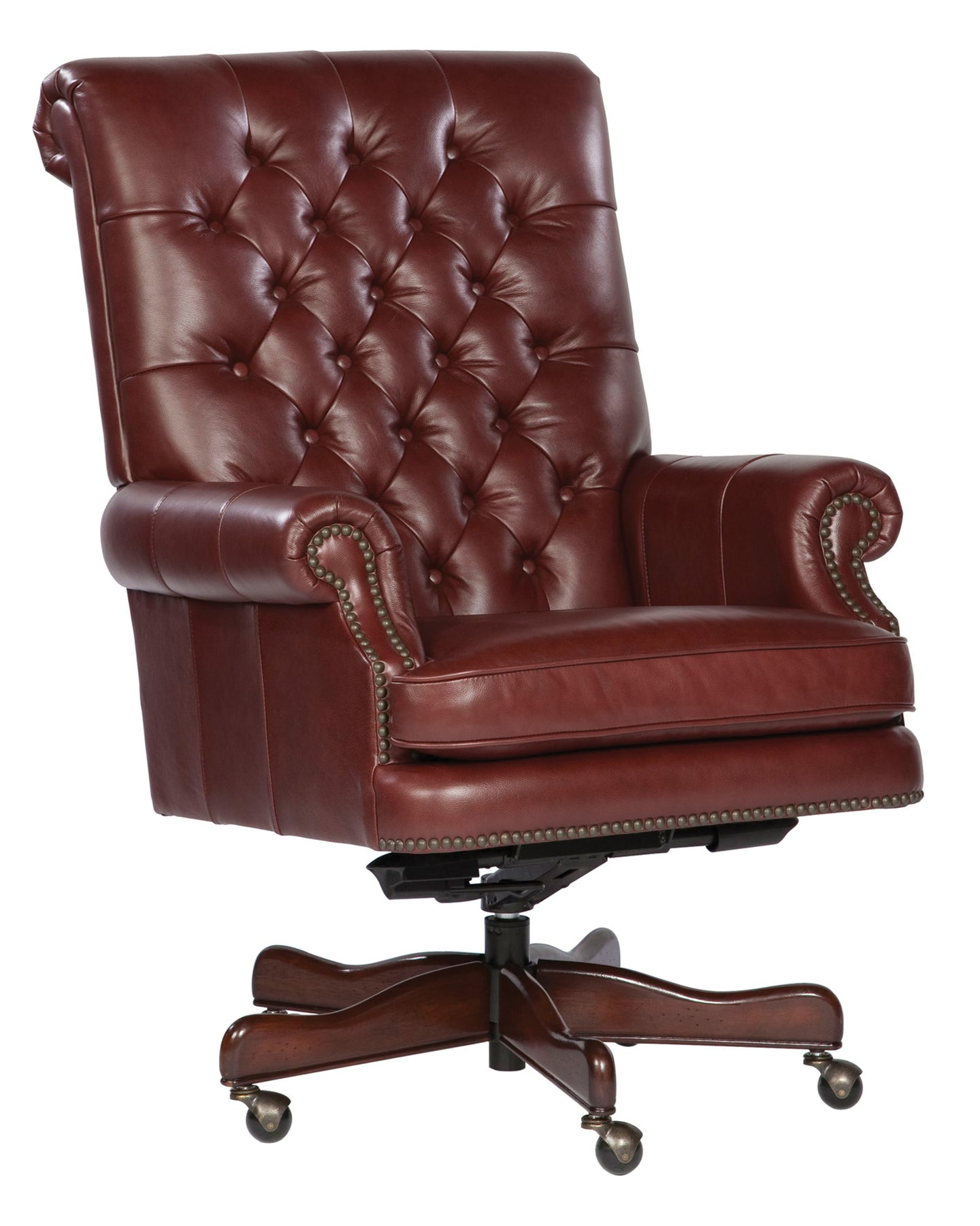 Hekman Tufted Merlot Leather Executive Office Chair 7-9253M - Curios And More