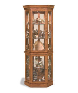 Philip Reinisch Lighthouse Classic Oak Corner Curio 45951 - Curios And More