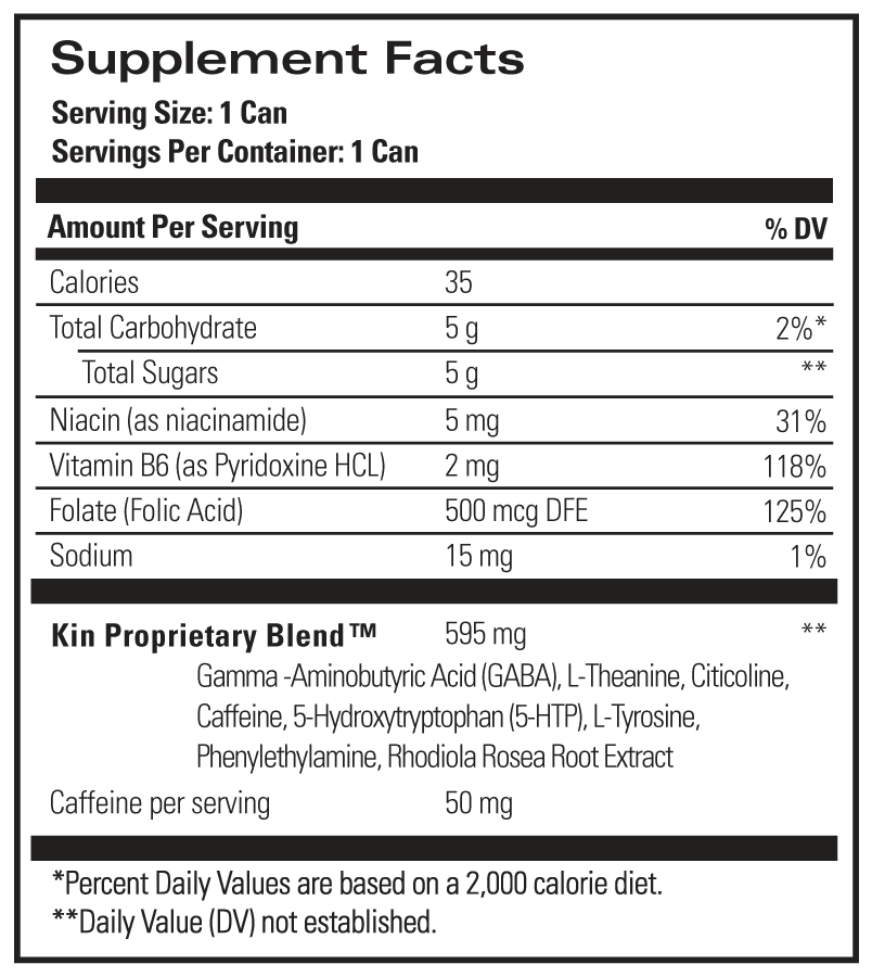 Kin Spritz Copy (FOR TESTING ONLY) Ingredients Panel