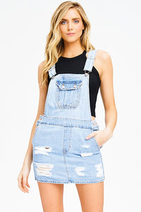 63a126fa7eb Light blue washed denim distressed pocketed boho overall jean skirt mini  dress.
