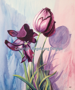 Timeless Tulips, Angela cng Delglyn, acrylic, painting, original